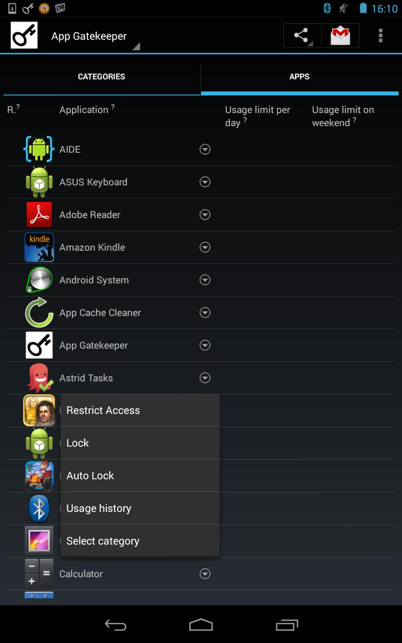 App context menu