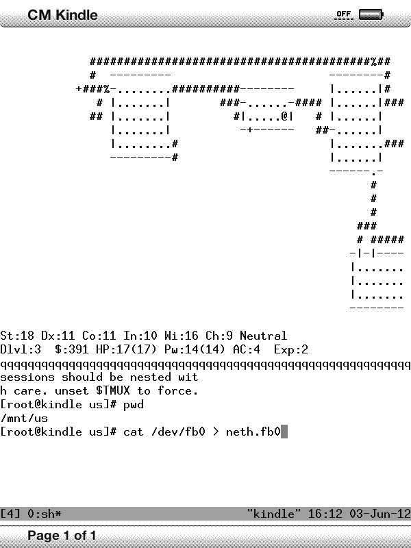 NetHack runs on Kindle